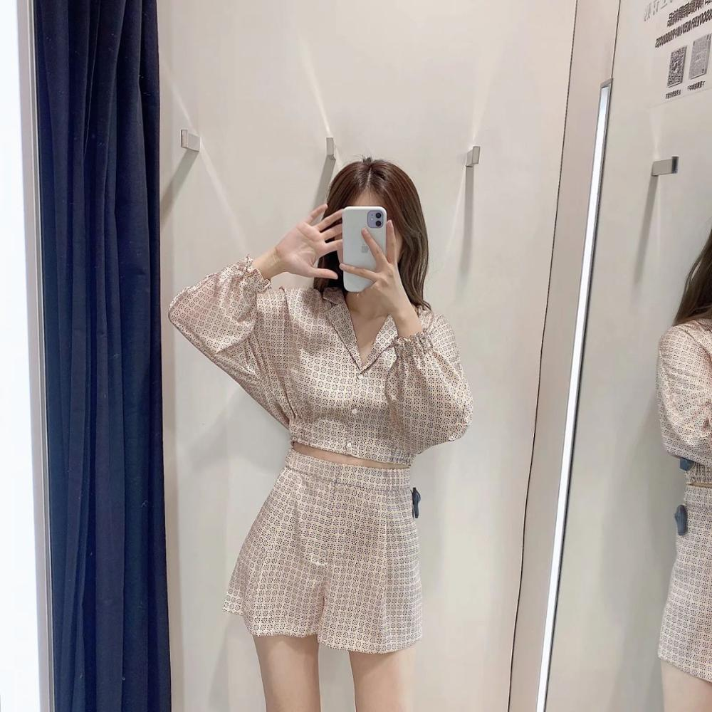New Summer Suits Women Two Piece Set Printed Pajama Style Za Soft Short Tops Blouse & Printed  Casual Shorts Loose Wide Leg