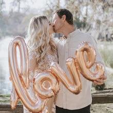 108cm amor letra balão casamento dos namorados aniversário decoração da festa de aniversário siamese amor balões decoração do casamento