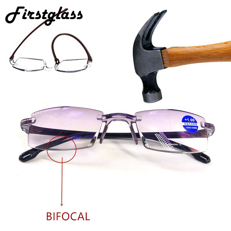 Diamond Cutting Reading Glasses Rimless Anti Blue Ray Bifocal Magnifying Eyeglasses Presbyopia Men Women Black Dropshipping +200