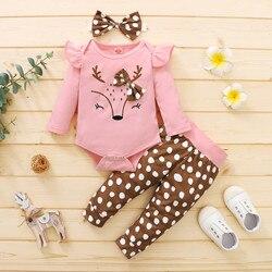 Комплект для младенцев из 2 предметов, Модный осенне-зимний комбинезон для маленьких девочек с круглым вырезом и мультяшным оленем, боди + шт...