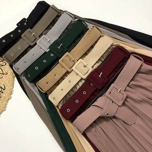 Elegant Skirt A-Line Office Autumn High-Waisted Womens Pleated Long-Commute Multicolor