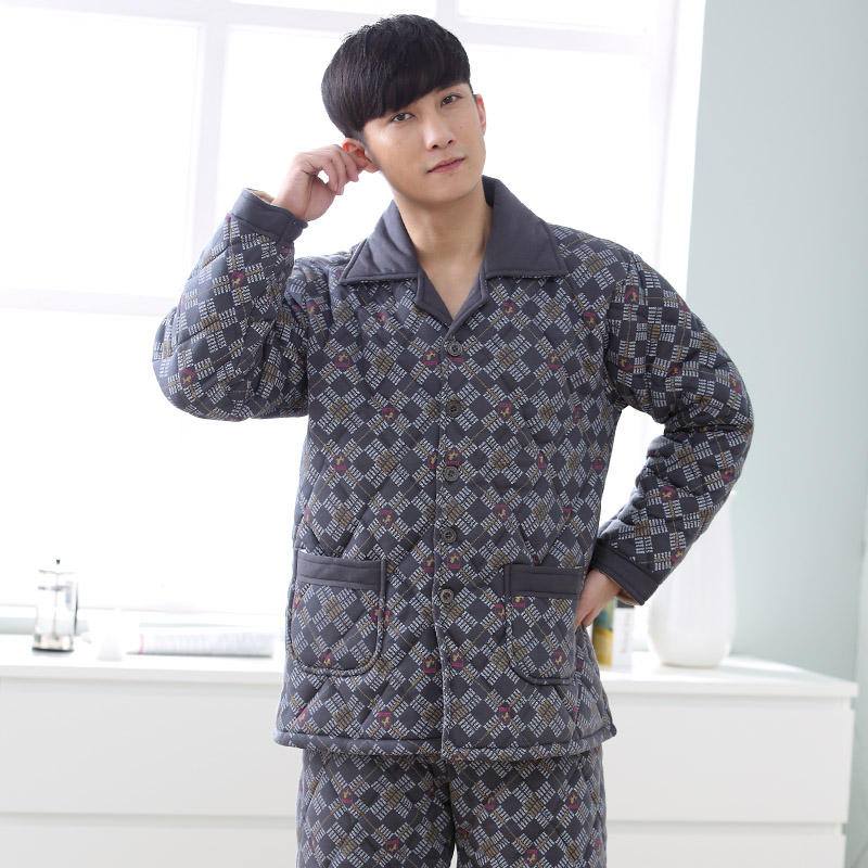 Men Pajama Set Pyjamas Suits Winter Three-layer Quilted Thick Full Cotton Warm Sleepwear Night Suit 3XL Men Nightwear Loungewear