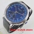 42mm Parnis mechanische uhr männer GMT automatische stahl wasserdicht schwarz leder blau zifferblatt DATUM Power licht weiß braun 593