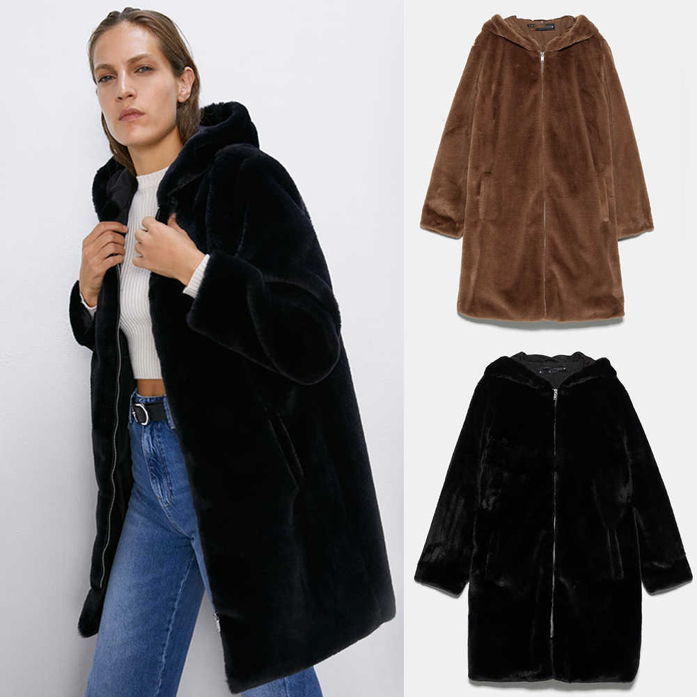 ZA Hooded Outwear Trendy 2019 Winter Female Long Sleeve Loose Streetwear Lamb Wool Hooded Coat Jacket Newest Tops Wholesale
