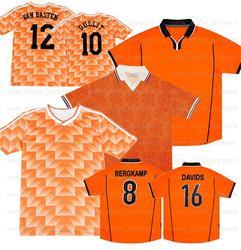 DAVIDS 16 VAN GULLIT 10 Retro 1998 VAN BASTEN 12 1988 BERGKAMP 8 KLUIVERT 9 1995 Sweatshirt shirt Orange black