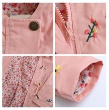 Coat Baby Kids Flower Embroidery Hooded Outwear