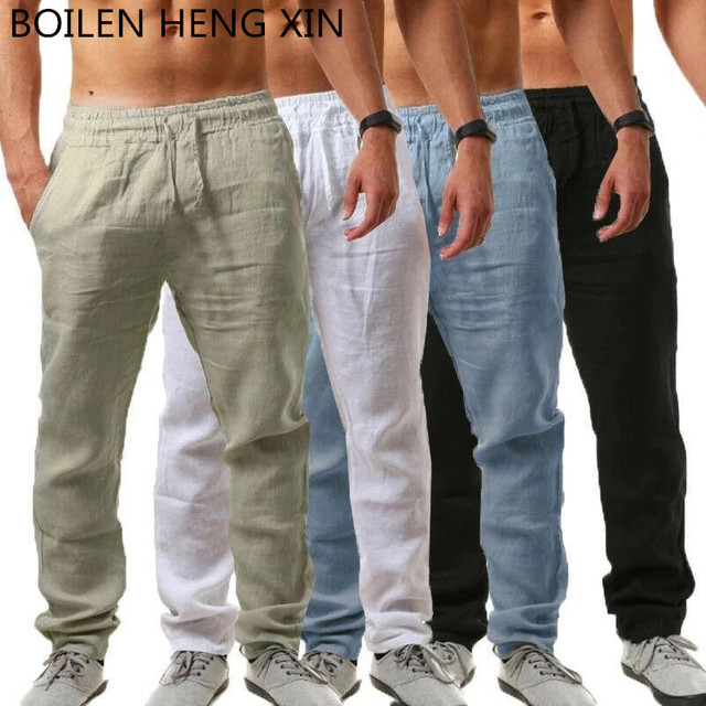 2020 Spring Summer Men's Cotton Linen Thin Breathable Male Skinny Ultra-thin Small Feet Trousers Casual pants 1