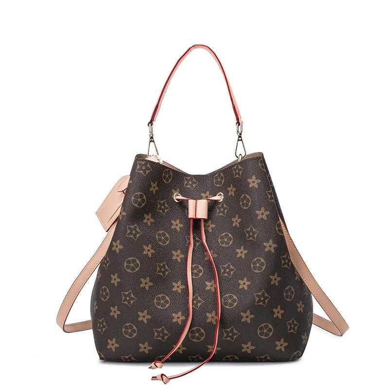 2019 Ladies' Shoulder Bag European And American Fashionable New Printed Casual PU Bucket Bag Handheld Strap Satchel Bag Solid