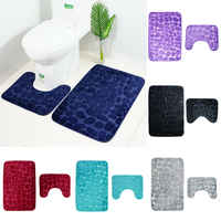 2PCS Bath Mats Bathroom Anti-Slip Mat Suction Grip With Rubber Backing