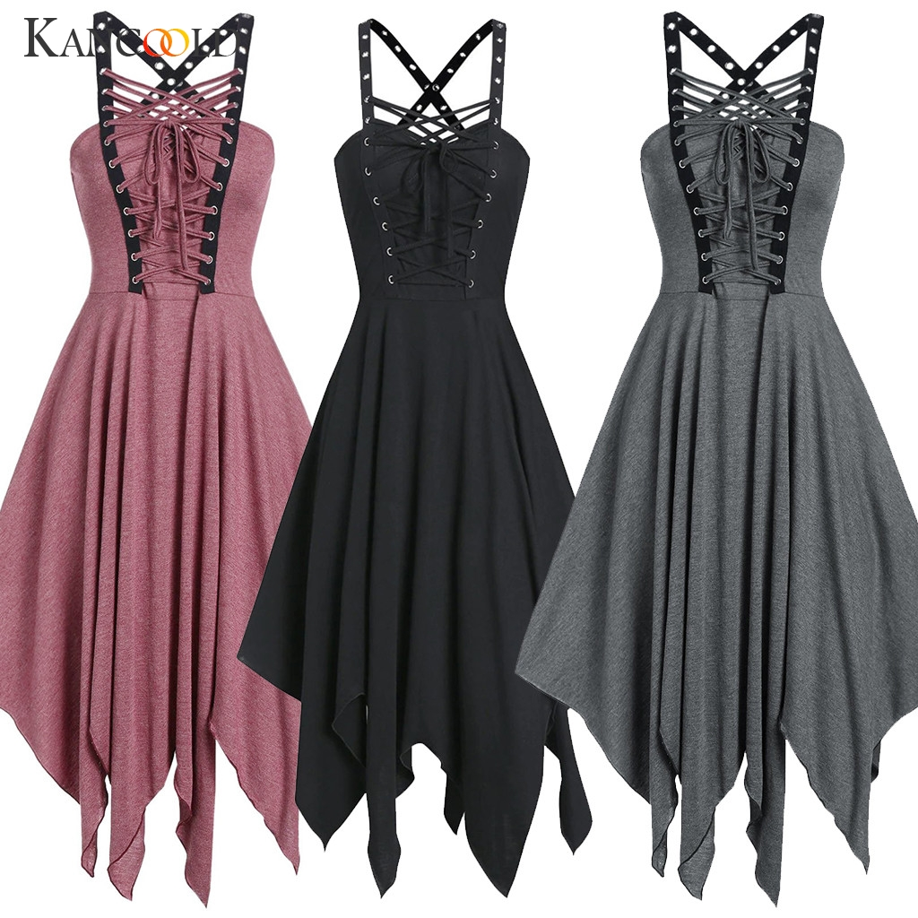 KANCOOLD Harajuku Vintage Retro Black Punk Metal Chain Zipper Spaghetti Strap Back Gothic Dress Women Sexy Sleeveless Dress