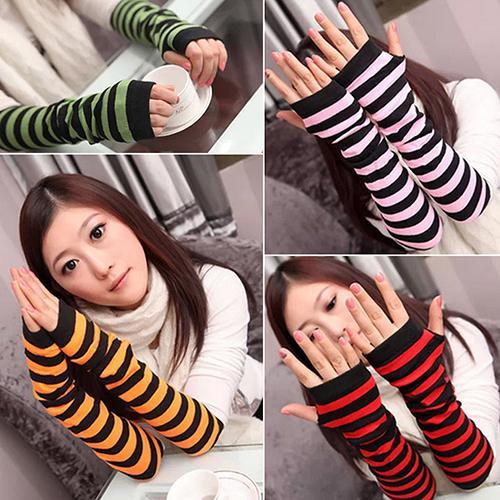 Women's Stripes Mitten Winter Knitted Wrist Arm Hand Warmer Fingerless Gloves