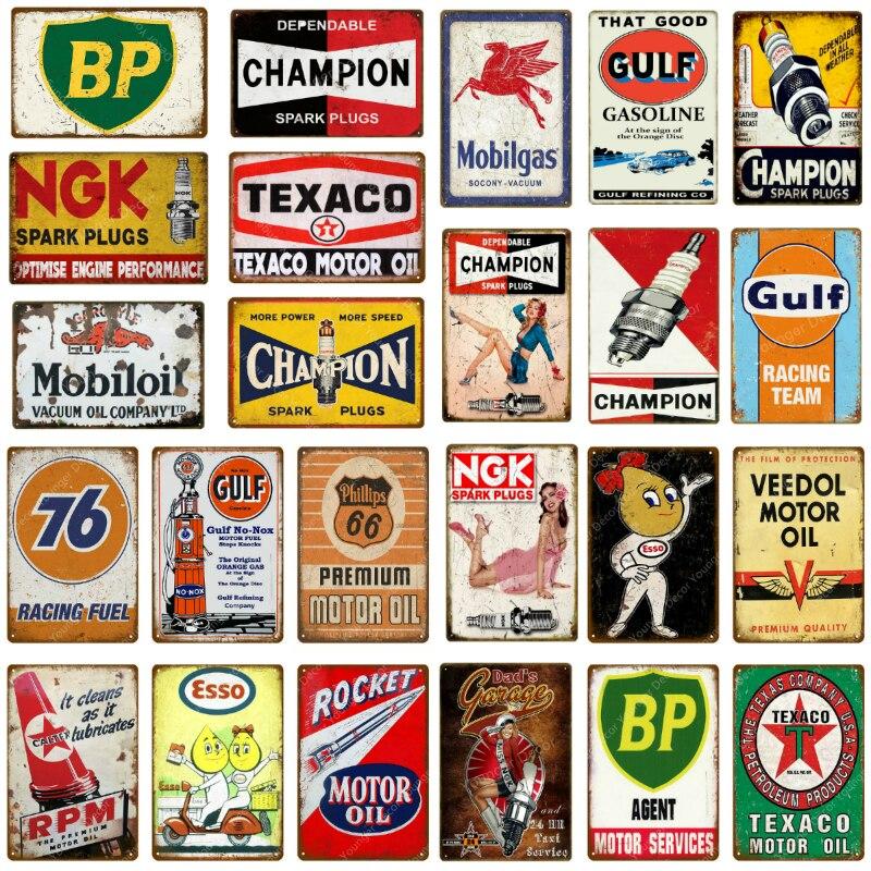 Vintage Motor Oil Gasoline Metal Signs Tin Poster Retro Bar Pub Garage Decor Gas Station Decorative Wall Plaque YJ126(China)