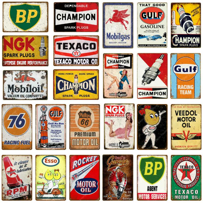 Vintage Motor Öl Benzin Metall Zeichen Zinn Poster Retro Bar Pub Garage Decor Gas Station Dekorative Wand Plaque YJ126