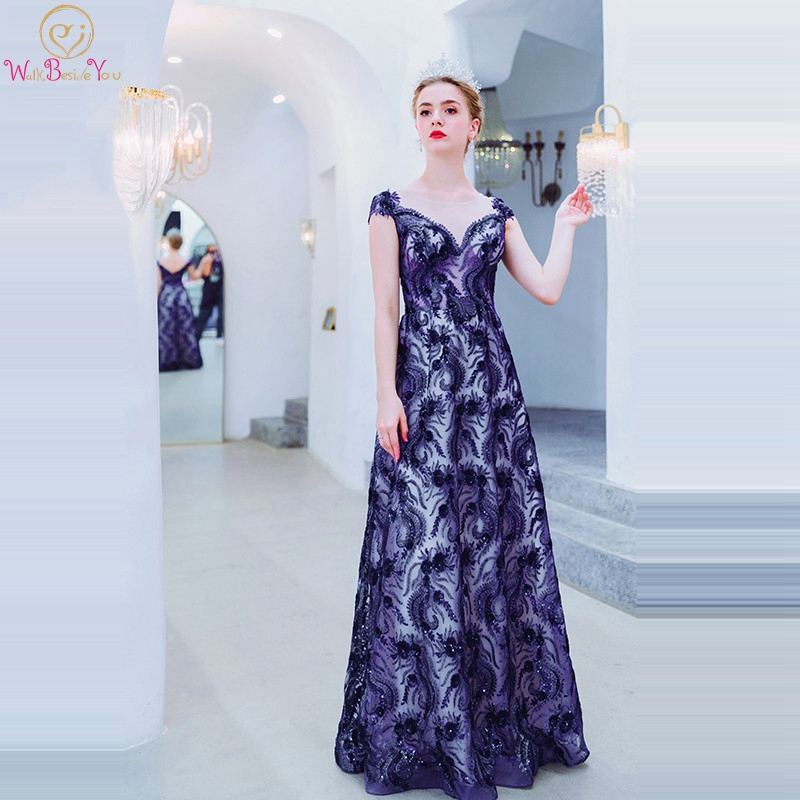 Dark Blue Evening Dresses 2019 Party Elegant Sequined Lace Sheer Neck Cap Sleeves A Line Engagement Prom Gowns for Women
