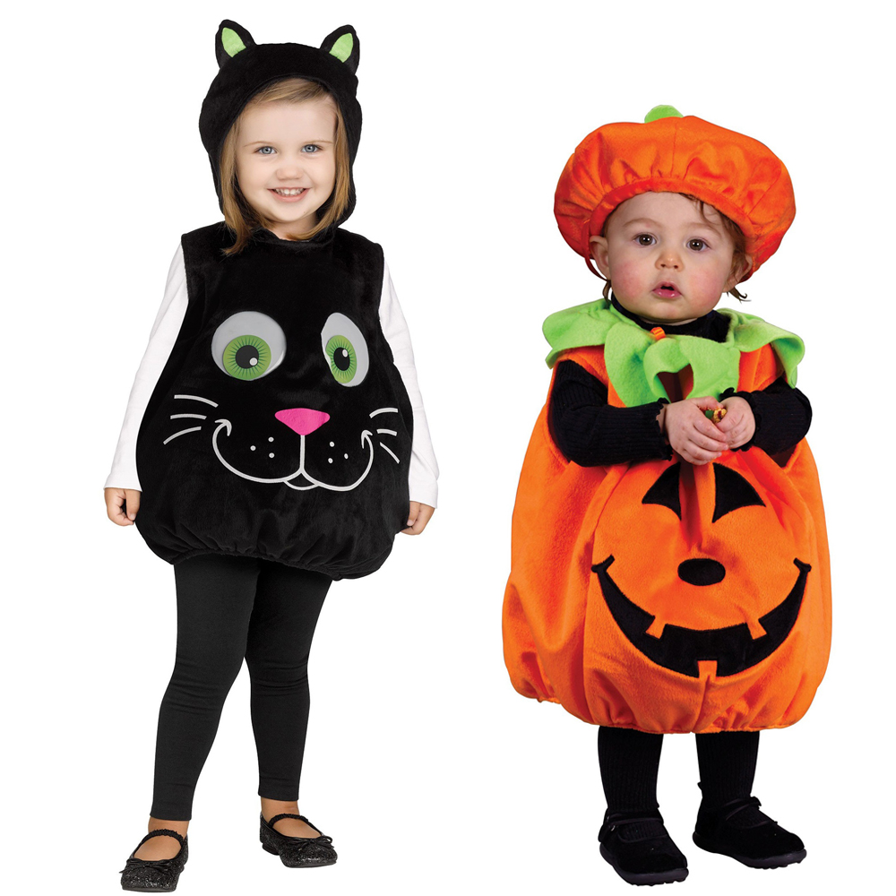 Snailify Halloween Costume For 12-24 Month Infant Pumpkin Costume Googly Eye Cat Toddler Costume Tunic And Hat Set