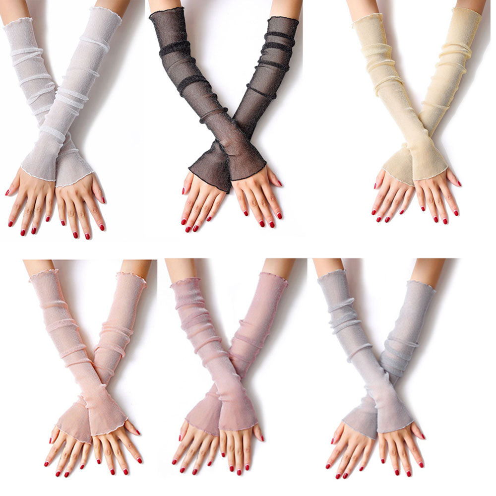 Girls Women's Lace Gold And Silver Summer Sunscreen Sleeve Ice Sleeve Thin Mesh Socks Foot Cover Dual-use Ice Silk Arm Set