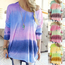2019 Casual Women Tops and Shirt Fall Clothing Round Neck Colorful Striped Patchwork Long Sleeve Tshirt