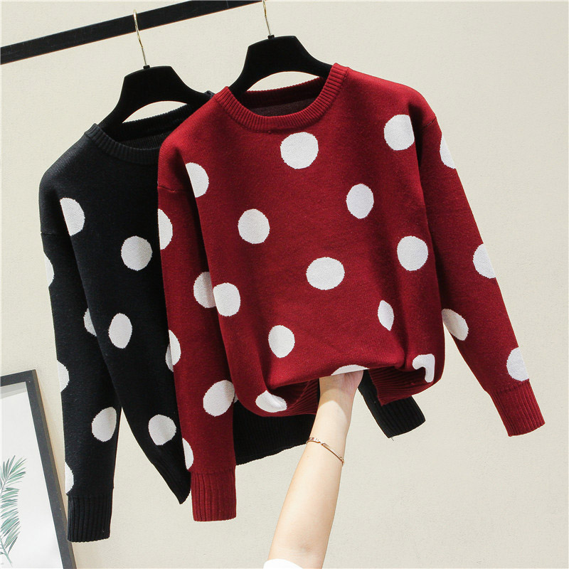Soft Women Polka Dot Sweater Female Cashmere Jumper Casual Fall Winter Knitted Sweaters And Pullovers Red Beige Jumper Tops