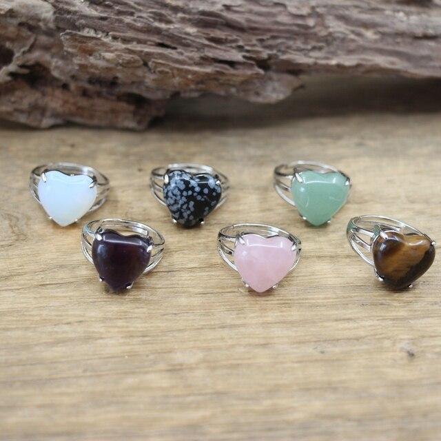 Anillos ajustables con gemas de coraz n para mujer colgante de cuarzo rosa amatista opalita anillo