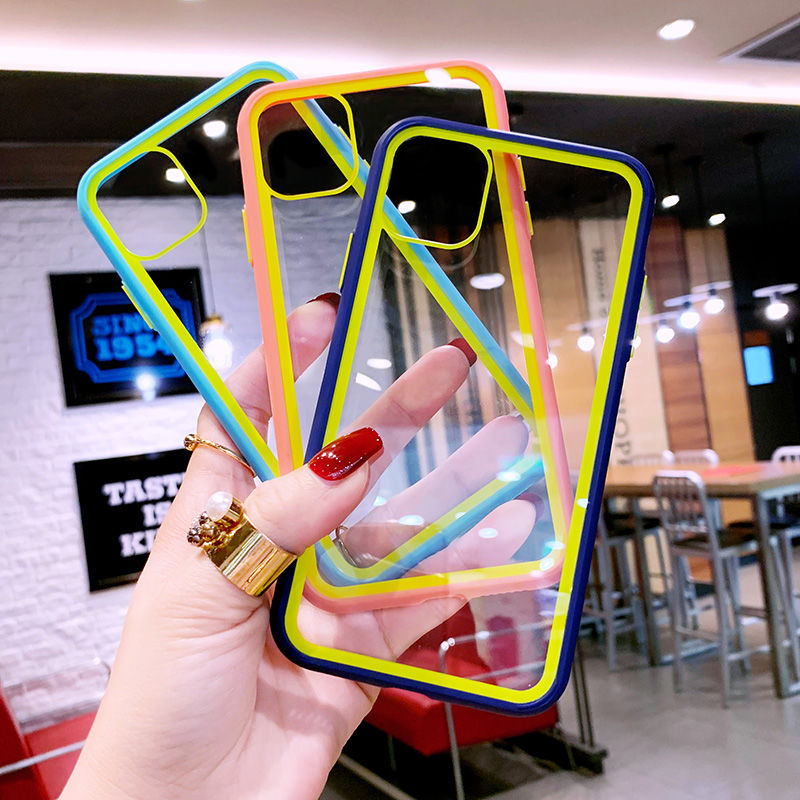 Dual Color Transparent Acrylic Case For Samsung A30s A50 A50s A51 A71 Capa Funda For Samsung S20 Plus S20 Ultra Soft Clear Cover