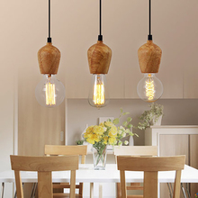 Small Pendant-Lights Room-Decor Wood Nordic-Design Dinning E27 Nordic Lamps
