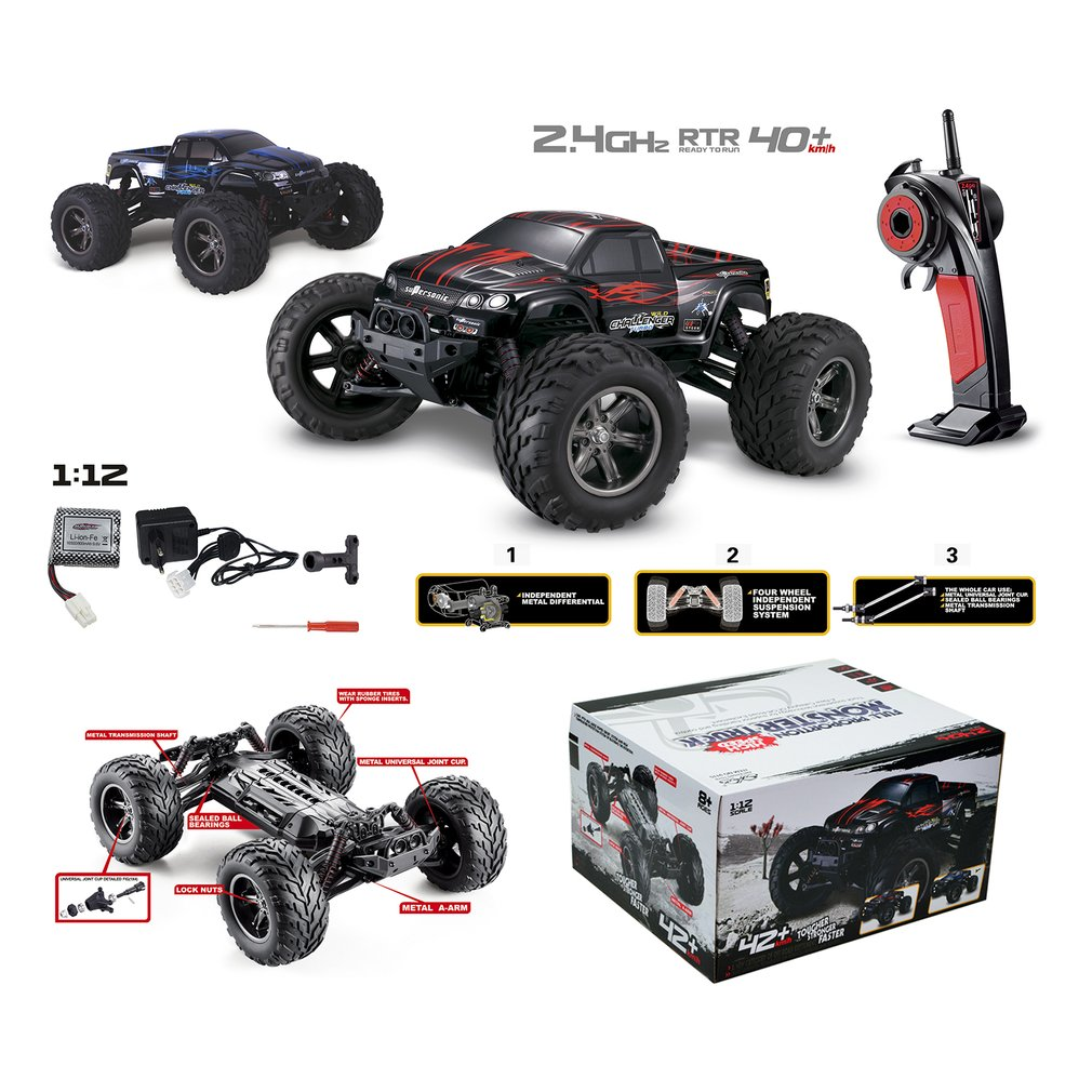 Brand New 9115 1:12 RC Car 4WD Driving Car Brushed Motors Drive Bigfoot Car Remote Control Car Model Off-Road Vehicle Toy