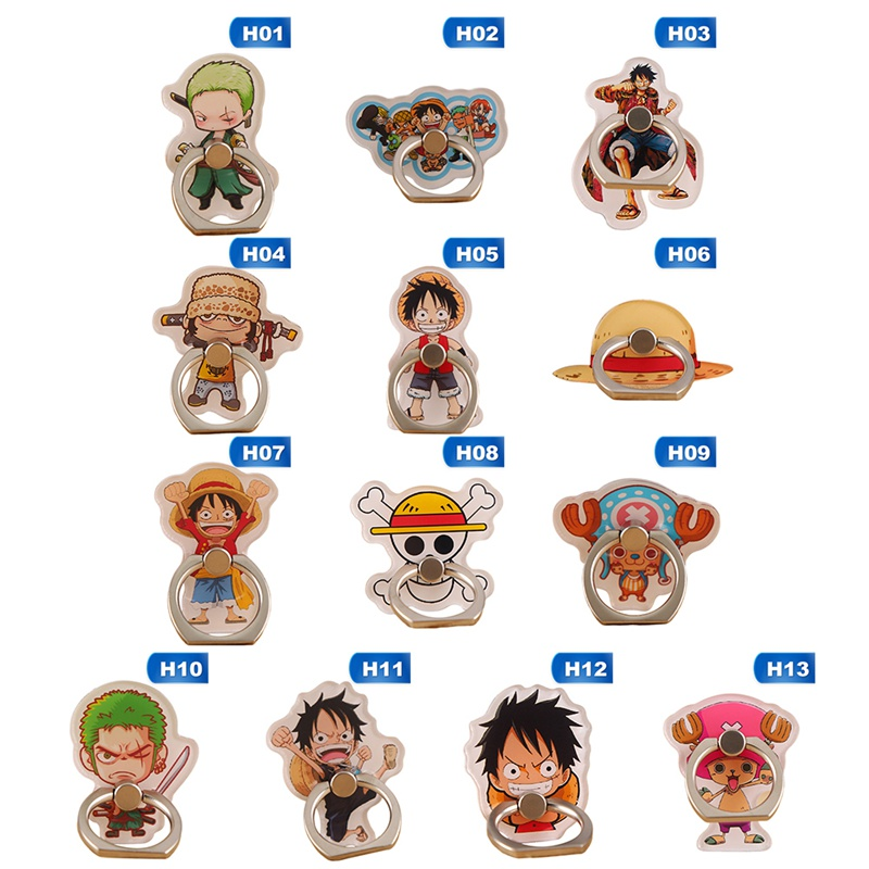 Anime One Piece Luffy Straw Hat Sanji 360 Degree Metal Finger Ring Mobile Phone Smartphone Stand Holder For Iphone Ipad