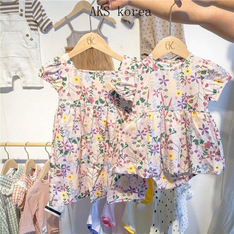 Baby Clothes Bodysuit Dresses Sisters Short-sleeved Princess Dress Girls Treasure Infant Skirt Flower Bodysuit Dress