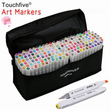 Touchfive Optioneel Kleur Bijpassende Art Markers Borstel Pen Schets Alcohol Gebaseerd Markers Dual Head Manga Tekening Pennen Art Supplies(China)