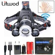 Litwod Z20 3 шт. XML T6 сенсор Светодиодные фары фара водонепроницаемый индукционный Головной фонарь фонарик налобный фонарь охотничий фонарь