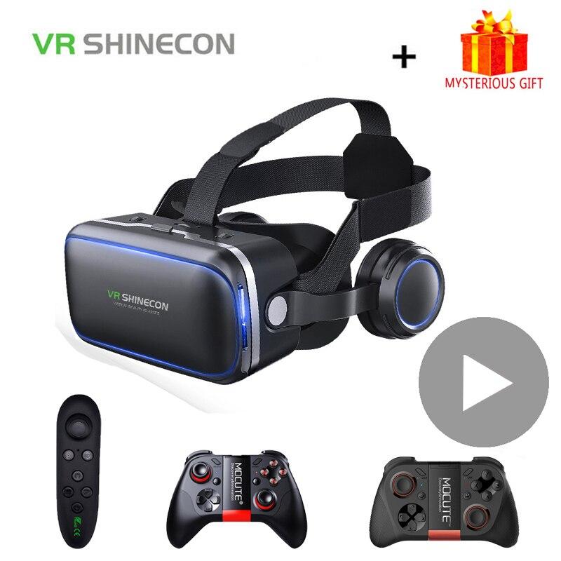 Shinecon 6.0 casque vr óculos de realidade virtual 3d óculos fone ouvido capacete para smartphone telefone inteligente viar binóculos jogo vídeo