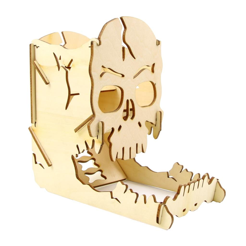 Skull Dice Tower con vassoio scatola a rulli Easy Cut in legno-accessori perfetti per giochi da tavolo, D & D e RPG