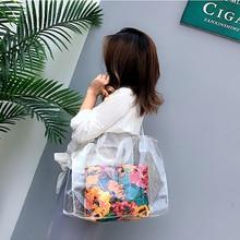 PVC flower print Summer Bag Beach Bag  Fashion Women  Bag  Plastic Clear Bag Big Transparent Bag  new designer bag bolosos
