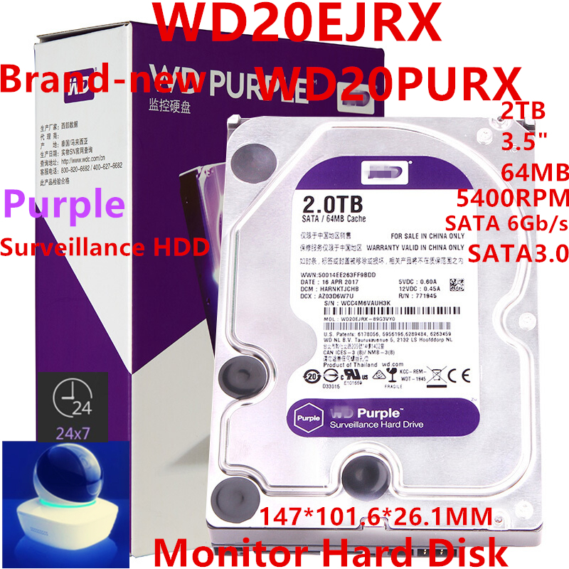 New HDD For WD Brand Purple 2TB 3.5