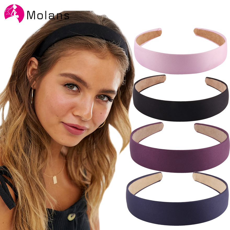 Molans 2019 3CM Wide Hairbands Simple Solid Candy Colors Fabric Anti-slip Women Headbands Fashion DIY Exquisite Hair Ornaments