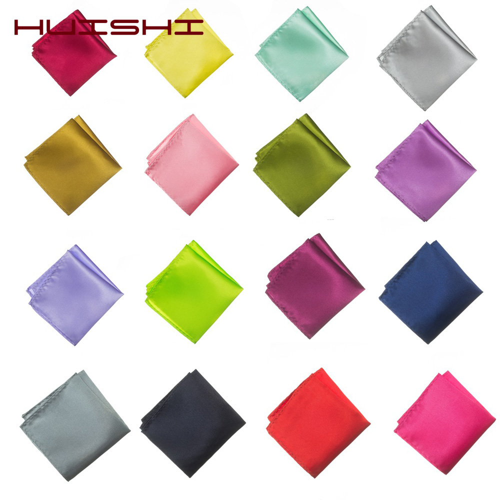 HUISHI 38 Color Solid Color Vintage Fashion Pocket Handkerchief Party High Quality Men's Handkerchief Groomsmen Men Pocket Hanky