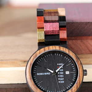 Image 4 - BOBO BIRD Antique Mens Wood Watches Date and Week Display Business Watch with Unique Mixed Color Wooden Band anniversary gift