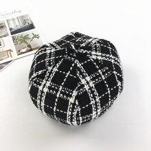 Winter Hats For Women Painter Beret Female Bonnet Black And White Grid Pumpkin Hat Artist Beanies British Octagon Skull Caps