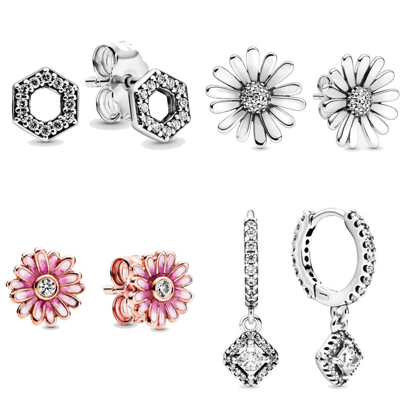 Spring Pink Daisy Flower Square Sparkle Honeycomb Hexagon Earring 925 Sterling Silver Earring Studs For Women Gift DIY Jewelry