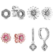 Spring Pink Daisy Flower Square Sparkle Honeycomb Hexagon Ea