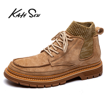 купить KATESEN Autumn Men Boots Fashion Men's Leather Workwear Boots Comfortable Outdoor Non-slip Casual Shoes Men Martin Boots дешево