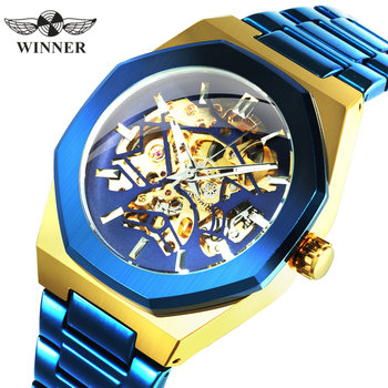WINNER Official Military Automatic Watch Men Top Brand Luxury 3D Skeleton Mechanical Watches Metal Strap Chic relogio masculino t winner luxury fashion sport men automatic mechanical watch skeleton crystal decorated leather strap relogio masculino clock