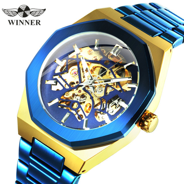 WINNER Official Military Automatic Watch Men Top Brand Luxury 3D Skeleton Mechanical Watches Metal Strap Chic relogio masculino