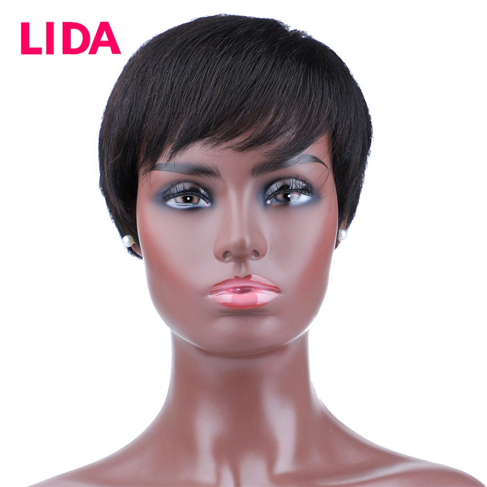 Lida Short Human Hair Wig Remy Brazilian Straight Machine Made Wig 6 Inch 130% Density Human Hair Women Wig