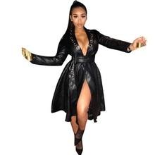 NiceMix Women New 2019 PU Faux Leather Long Sleeve Eyelet Deep V-neck with Belt Pleated Big Swing Jackets Coat Dress