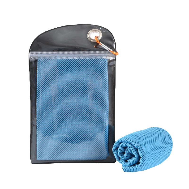 Swimming 110x30cm Ice Towel Instant Cooling Towel Heat Relief Reusable Chill Cool Towel With Carabiner Clip For Yoga Golf Fitnes