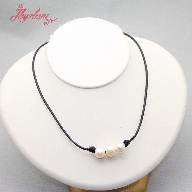 """8-10mm naturalna perła słodkowodna kamień okrągły koraliki skórzany naszyjnik dla kobiet ślub prezent na boże narodzenie moda Chokers naszyjnik 16"""""""