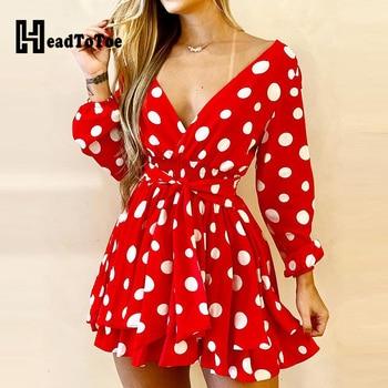 V-Neck Polka Dot Long Sleeve Dress 1