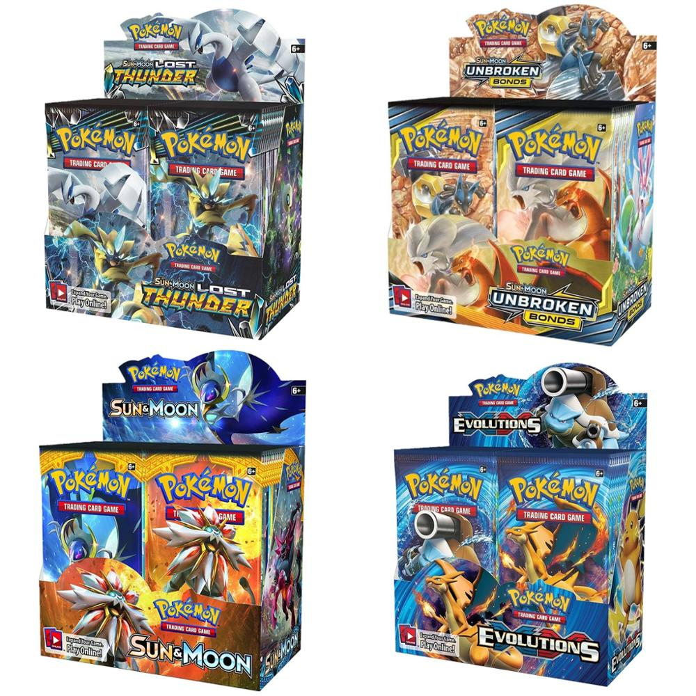 324 pces pokemones cartões sun & moon gx equipe até unbreaked bond unified minds evoluções booster caixa colecionáveis cartões de negociação jogo
