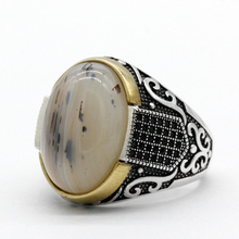 Genuine Pure 925 Sterling Silver Rings With Agate Stone Antique Wedding Rings For Men Turkish Punk Rock Jewelry Gift Women Rings